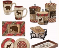 Cabin Rules Collection includes fun accessories to decorate your cabin in the woods including mugs, platters, plates and more.