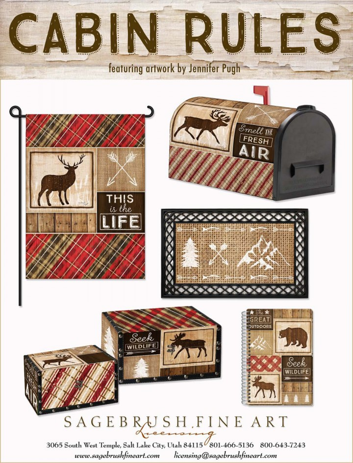 Cabin Rules Collection includes fun accessories to decorate your cabin in the woods including flags, mailboxes, rugs and more.