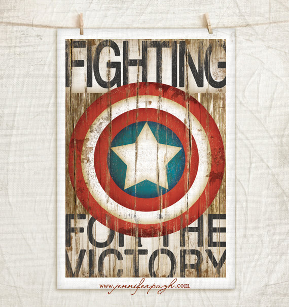 Captain America 12x18 Art Print by Jennifer Pugh Studios.