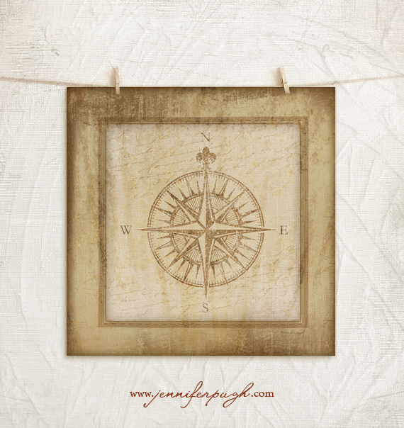 Compass Tan 12x12 Art Print by Jennifer Pugh Studios.