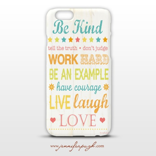 Be Kind phone case art by Jennifer Pugh
