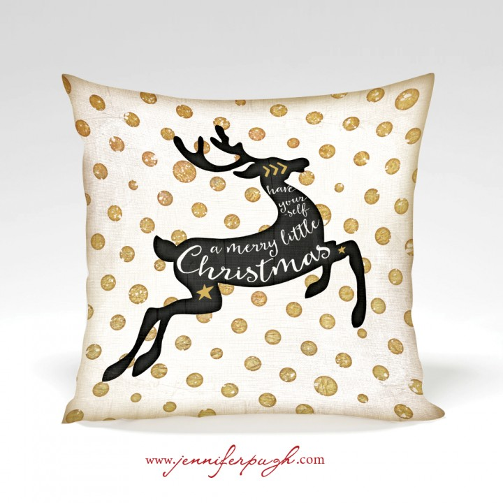 Merry Little Deer holiday decorative pillow by Jennifer Pugh.