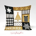 Merry Tree Gold Decorative Pillow by Jennifer Pugh