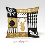 Noel Deer Gold Decorative Pillow art by Jennifer Pugh.