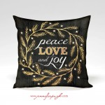Peace Love Joy Decorative Pillow by Jennifer Pugh Studios.