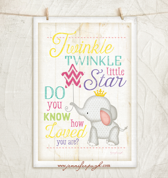 Twinkle Twinkle Little Star 12x18 Art Print by Jennifer Pugh Studios.