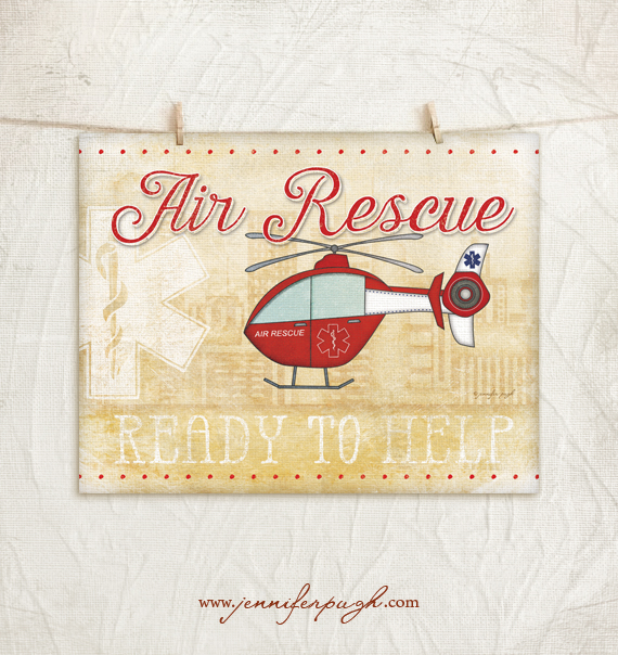 Air Rescue 11x14 Art Print by Jennifer Pugh Studios.